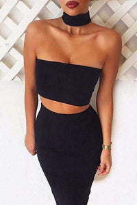 Choker Halter Tube Top Crop - Lupsona