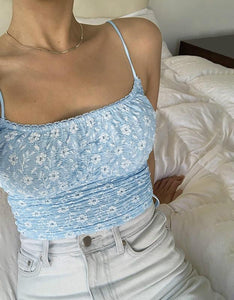 sveže malo cvetja, natisnjen strappy slim crop top