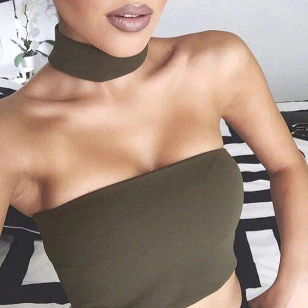 Choker Halter Tube Crop Top - Lupsona