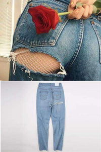 Super sexy Butt Ripped Denim Héich Taille Casual Jeans - Lupsona