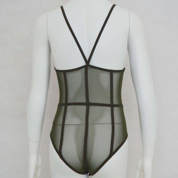 Blocky Mesh See-through Lingerie Bodysuit - Lupsona