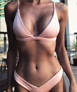 Cute Solid Color 2 Pieces Bikini Set - Lupsona