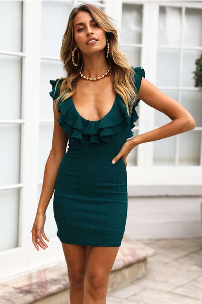 Deep V Neck Falbala Bodycon Mini obleka - Lupsona
