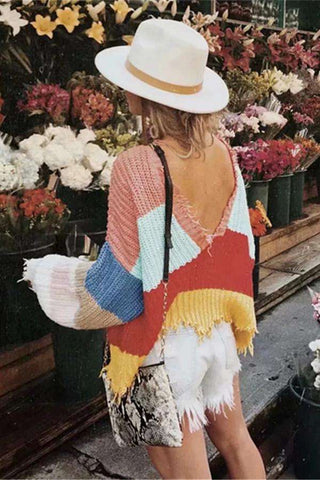 Rainbow Deep V Neck Tassels Loose Crop Sweater