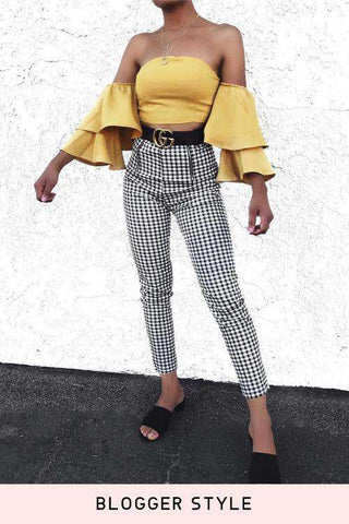 Black White Gingham Double Zippers Legging Skinny Pants