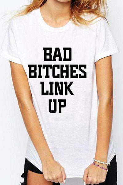 T-shirt casual BITCHES LINK UP - Lupsona