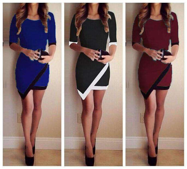 Halle Sleeve Asymmetric Patchwork Elegante Bodycon Kleed - Lupsona