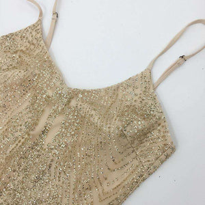 Blingbling Sequined See-though Sling Bodysuit ruha - Lupsona