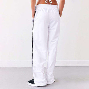 Pantaloni casual a gamba larga Chic Side Buttons - Lupsona