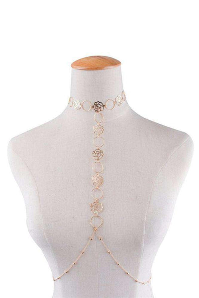 Hollow Rose Choker Bodychain - Lupsona