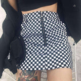 Cool Checkerboard Print Front Zipper Skirt - Lupsona