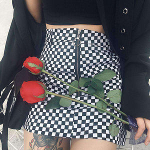 Cool Checkerboard Print Front Zipper Rock - Lupsona