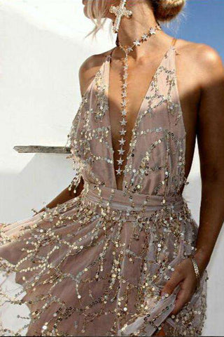 Sequins Tassel Halter Backless Dress