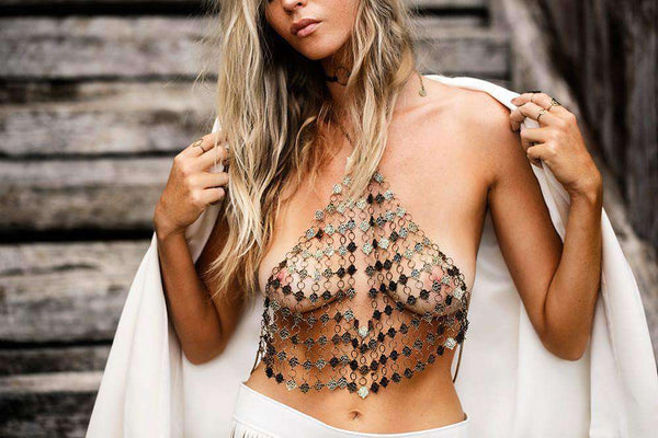 Boho Kovinski Halter Crop Top Body Chain - Lupsona