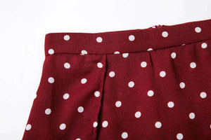 Polka Dot Tube Slit Skirt 2 Pieces Set