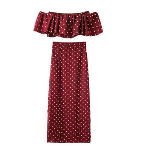 Polka Dot Tube Slit Skirt 2-teiliges Set - Lupsona