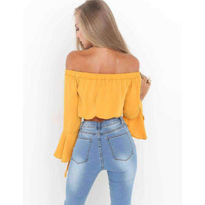 Off-the-Shoulder Falbala Flared Sleeve Chiffon Blouse - Lupsona