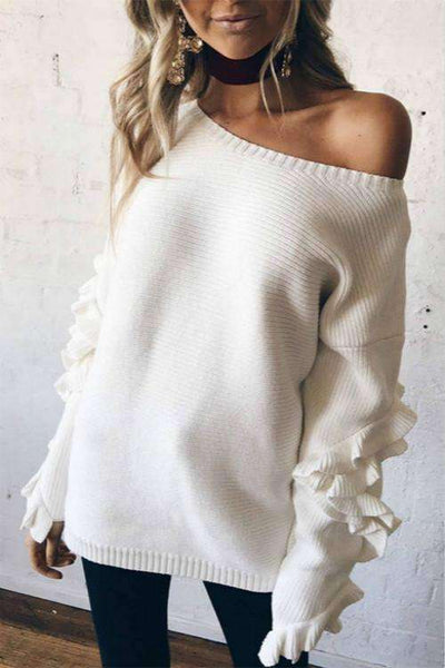 Lotus Sleeved Solid Color Sweater