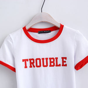 t-shirt slim stampa lettere patch color - Lupsona