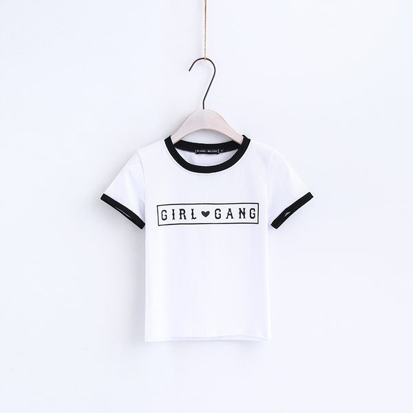 color patch letters printed slim t-shirt - Lupsona