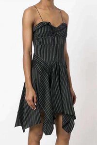 Uregelmessige Stripes Falbala Strappy Mini Dress - Lupsona