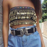 Boho Coins Tassels Tube Top - لوبسونا