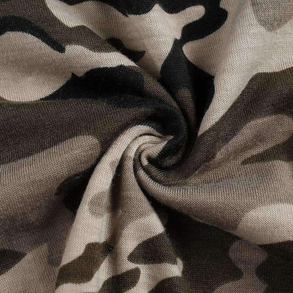 Camouflage Print Cotton Cropped T-skjorte - Lupsona