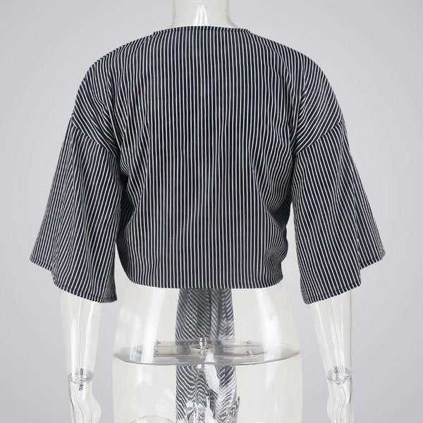 Striped Wrapped Front-tie Cropped Blouse