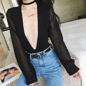 Sexy Deep V Neck Bodysuit Top - Lupsona
