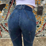 Butt Star Pattern High Waist Slim Jeans - Lupsona