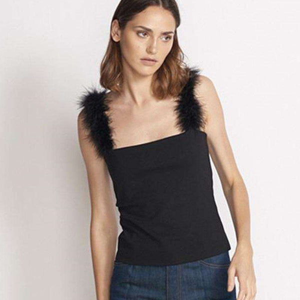 Furry Strappy Tank Crop Top - Lupsona