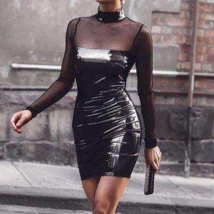 Mock vratu PU Patchwork Mesh Sheer Bodycon oblačenja