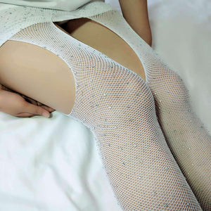 Open Crotch Shiny Rhinestone Fishnet Tights Mesh Pantyhose - Lupsona