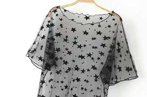 Black Stars Sheer Mesh Cover-up T-Shirt Kleed - Lupsona
