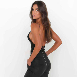 Eyelet Lace-up Backless Strappy Bodysuit Top - Lupsona