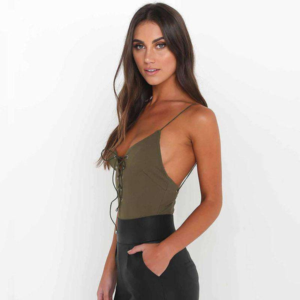 Lace-up Lace-up Backless Strappy Bodysuit Top - Lupsona