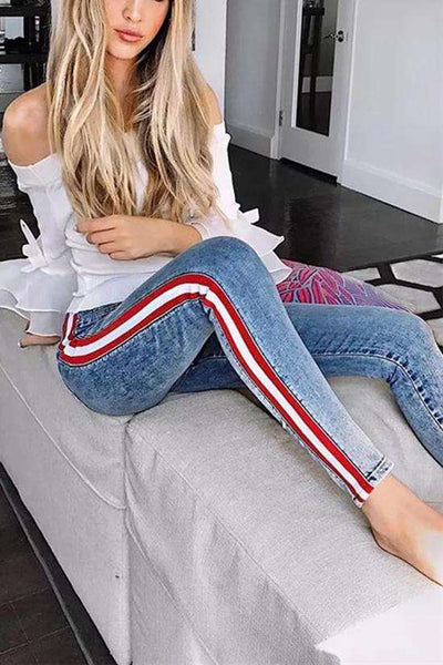 Side Stripes Patch Hoer Taill Slim Jeans