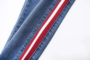 Side Stripes Patch Slim Jeans mit hoher Taille - Lupsona