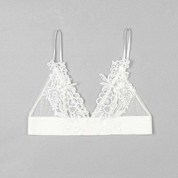 Floral Embroidery Patch Mesh Triangle Bralette Top - Lupsona