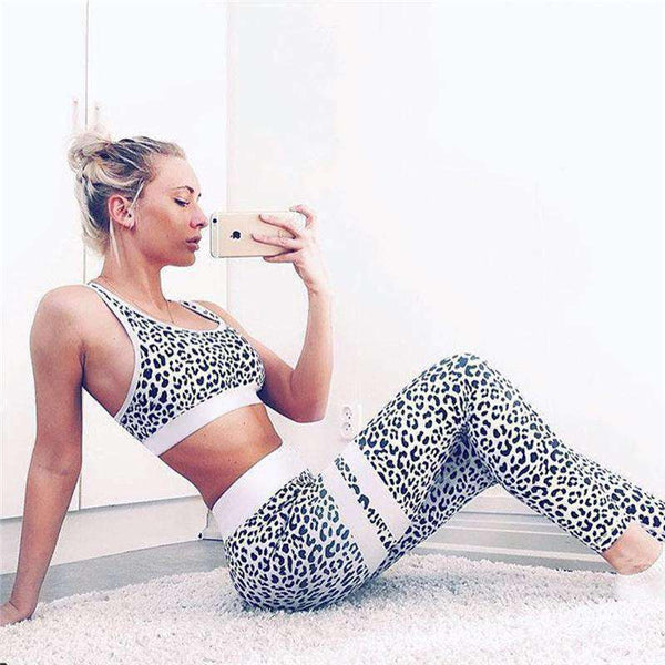 Leopard Printed 2 Pieces Sports Set