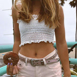 Summer Elastic White/Stripe/Gingham Tube Crop Top