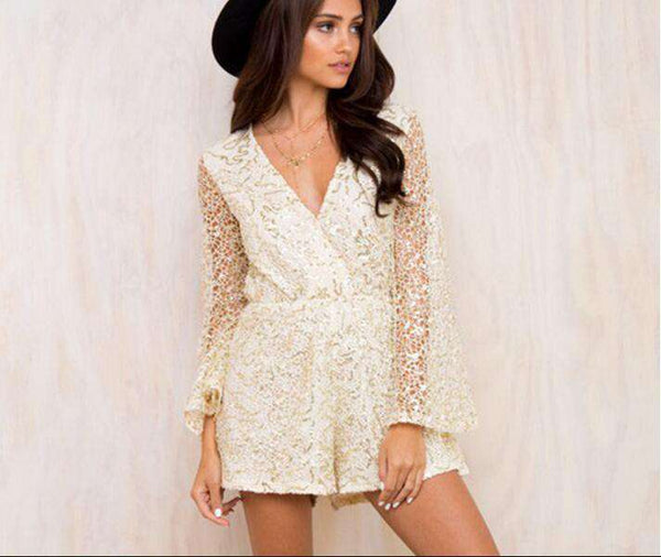 Sequins Flare Sleeve Čepice Playsuit Romper