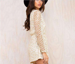 Sequins Flare Sleeve Lace Playsuit Romper - Lupsona