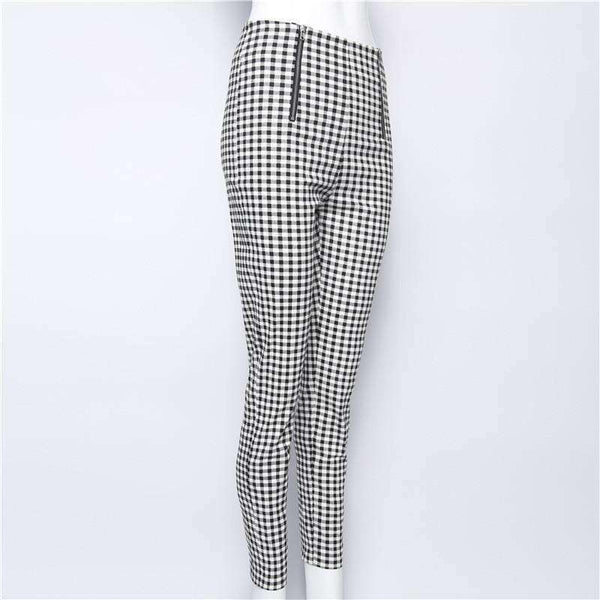 Black White Gingham Double Zippers Legging Skinny Pants - Lupsona