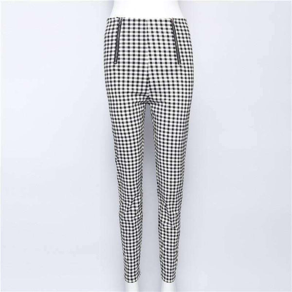 Black White Gingham Double Zippers Legging Skinny Bukser - Lupsona