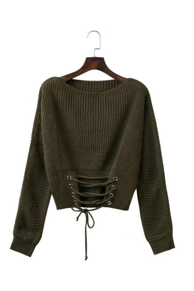 Solid Color Front Bandage Loose Sweater