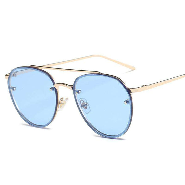 Lunettes de soleil Metallic Frame Sea Blue Cat Eye