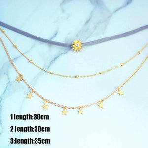 Sun Stars Multi-Layer Halskette Set