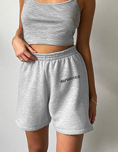 letters printed elastic high waisted sports leisure shorts - Lupsona