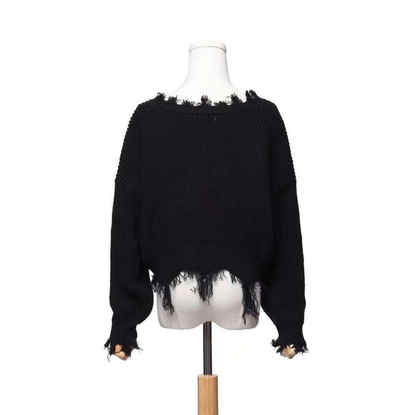Mély V nyakpántok Irregular Loose Crop Sweater - Lupsona